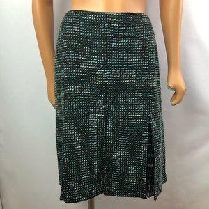 Peter Nygard green tweed skirt silk insert Sz 12